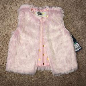 Osh Kosh Baby Girl Faux Fur Pink Vest, 12-18m